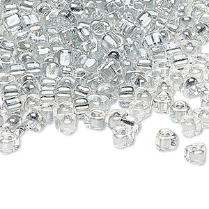 seed bead, miyuki, glass, transparent clear color-lined platinum, (tr1105), #5 triangle. sold per 250-gram pkg.