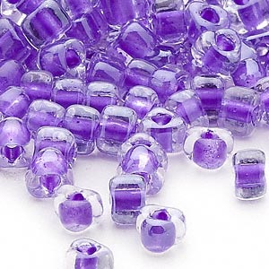 seed bead, miyuki, glass, transparent clear color-lined purple, (tr1123), #5 triangle. sold per 250-gram pkg.
