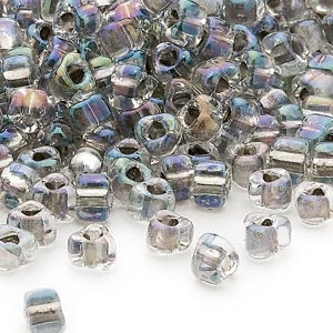 seed bead, miyuki, glass, transparent clear color-lined steel, (tr1139), #5 triangle. sold per 25-gram pkg.
