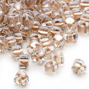 seed bead, miyuki, glass, transparent clear color-lined tan, (tr1124), #5 triangle. sold per 250-gram pkg.