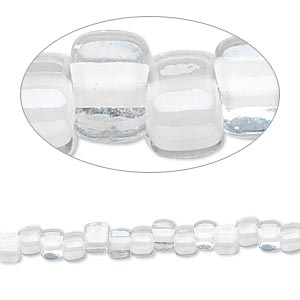 seed bead, miyuki, glass, transparent clear color-lined white, (tr1104), #5 triangle. sold per 250-gram pkg.