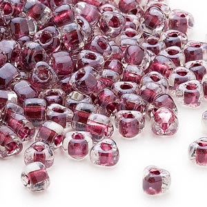seed bead, miyuki, glass, transparent clear color-lined wine, (tr1118), #5 triangle. sold per 25-gram pkg.