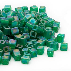 seed bead, miyuki, glass, transparent frosted rainbow green, (sb146fr), 3.5-3.7mm square. sold per 25-gram pkg.
