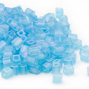 seed bead, miyuki, glass, transparent frosted rainbow light blue, (sb148fr), 3.5-3.7mm square. sold per 25-gram pkg.