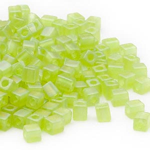 seed bead, miyuki, glass, transparent frosted rainbow lime, (sb143fr), 3.5-3.7mm square. sold per 25-gram pkg.
