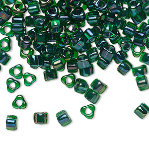 seed bead, miyuki, glass, transparent green color-lined metallic blue, (tr1812), #5 triangle. sold per 25-gram pkg.
