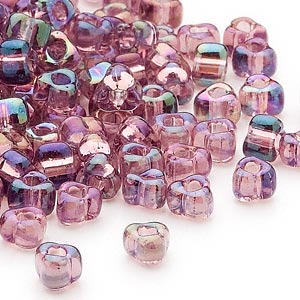seed bead, miyuki, glass, transparent iris lilac, (tr1156), #5 triangle. sold per 25-gram pkg.