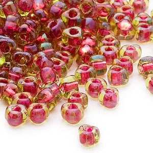 seed bead, miyuki, glass, transparent lime color-lined fuchsia, (tr1820), #5 triangle. sold per 25-gram pkg.
