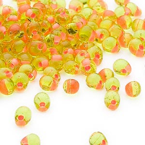 seed bead, miyuki, glass, transparent lime color-lined gold, (dpf13), 4x3.4mm fringe. sold per 10-gram pkg.