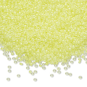 seed bead, miyuki, glass, transparent luminous color-lined neon yellow, (rr1119), #15 rocaille. sold per 250-gram pkg.