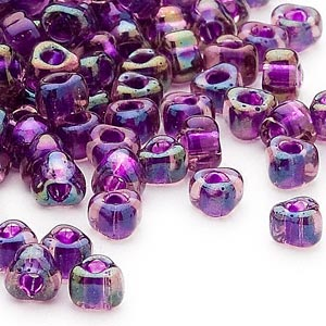 seed bead, miyuki, glass, transparent purple color-lined blue, (tr1832), #5 triangle. sold per 25-gram pkg.