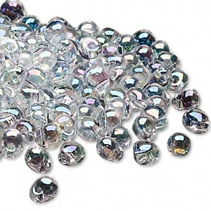 seed bead, miyuki, glass, transparent rainbow clear, (dp250), 4x3.4mm fringe. sold per 250-gram pkg.