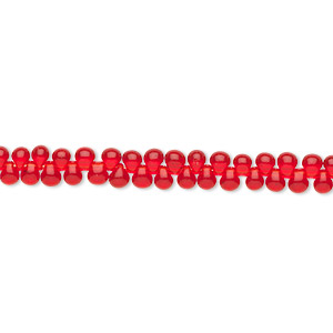 seed bead, miyuki, glass, transparent red, (dp140), 3.3x2.8mm mini fringe. sold per 10-gram pkg.