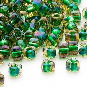 seed bead, miyuki, glass, transparent yellow color-lined green, (tr1165), #5 triangle. sold per 250-gram pkg.