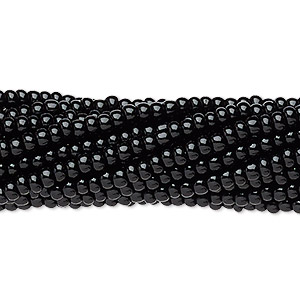 seed bead, preciosa, czech glass, opaque black, #8 round. sold per hank.