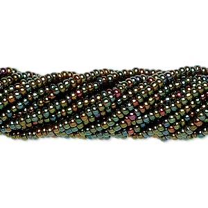 seed bead, preciosa, czech glass, opaque iris metallic olive, #11 round. sold per 1/2 kilogram pkg.