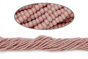 seed bead, preciosa, czech glass, opaque rose, #11 round. sold per 1/2 kilogram pkg.