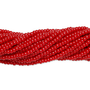 seed bead, preciosa, czech glass, opaque ruby red, #11 round. sold per hank.
