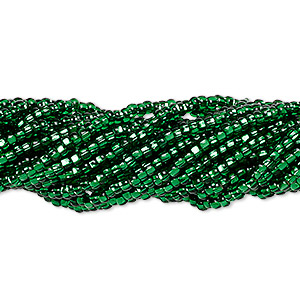seed bead, preciosa, czech glass, silver-lined translucent dark green, #11 round with square hole. sold per 1/2 kilogram pkg.