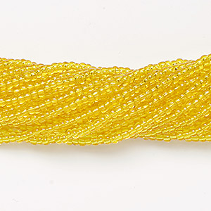 seed bead, preciosa, czech glass, transparent lemon yellow, #11 round. sold per 1/2 kilogram pkg.