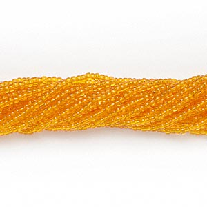 seed bead, preciosa, czech glass, transparent light orange, #11 round. sold per 1/2 kilogram pkg.