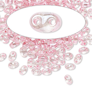 seed bead, preciosa twin™, czech glass, transparent pink-lined clear terra, 5x2.5mm oval with 2 holes. sold per 50-gram pkg.