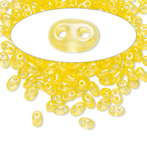 seed bead, preciosa twin™, czech glass, transparent yellow terra pearl, 5x2.5mm oval with 2 holes. sold per 50-gram pkg.