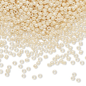 seed bead, toho beads, glass, opaque luster light beige, (tr-11-123), #11 round. sold per 7.5-gram pkg.