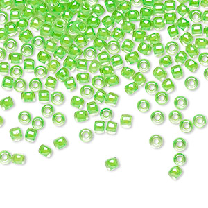 seed bead, toho beads, glass, translucent luminous neon green, (tr-11-805), #11 round. sold per 50-gram pkg.