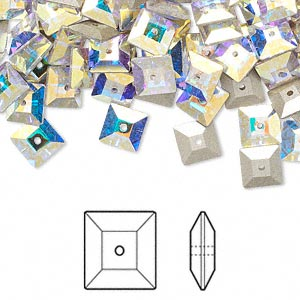 sew-on bead, swarovski crystal rhinestone, crystal ab, foil back, 6x2mm faceted square lochrose (3400). sold per pkg of 360.