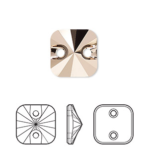 sew-on bead, swarovski crystal rhinestone, crystal passions, crystal rose gold, foil back, 12mm faceted rivoli square (3201). sold per pkg of 12.
