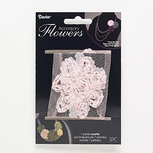 sew-on component, fabric, light pink, 2-1/2 x 2-1/2 to 2-3/4 x 2-3/4 inch flower. sold per pkg of 3.