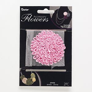 sew-on component, fabric, pink, 66x66mm-68x68mm zinnia flower. sold per pkg of 2.