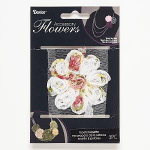 sew-on component, fabric, white and multicolored, 2-1/2 x 2-1/2 to 2-3/4 x 2-3/4 inch flower with floral design. sold per pkg of 3.