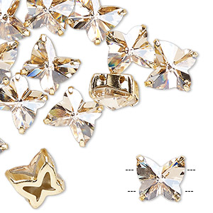 sew-on component, preciosa czech crystal and gold-plated brass, transparent honey, 10mm single-sided faceted butterfly with 2 holes. sold per pkg of 12.