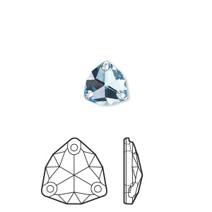 sew-on component, swarovski crystal rhinestone, aquamarine, foil back, 16mm faceted trilliant (3272). sold per pkg of 24.