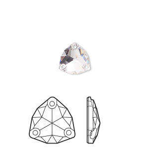 sew-on component, swarovski crystal rhinestone, crystal clear, foil back, 16mm faceted trilliant (3272). sold per pkg of 24.