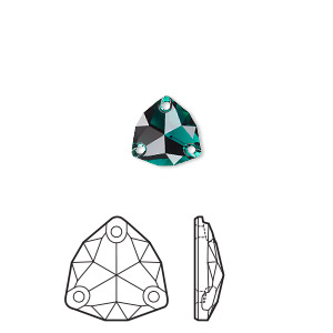 sew-on component, swarovski crystal rhinestone, emerald, foil back, 16mm faceted trilliant (3272). sold per pkg of 24.