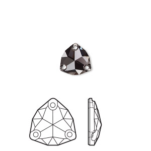 sew-on component, swarovski crystal rhinestone, graphite, foil back, 16mm faceted trilliant (3272). sold per pkg of 24.