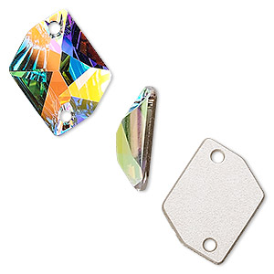 sew-on component, swarovski crystals, crystal ab, 20x16mm flat back faceted cosmic (3265). sold per pkg of 72.
