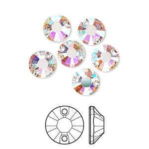sew-on component, swarovski crystals, crystal ab, 8mm flat foil back xilion (3204). sold per pkg of 6.