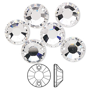 sew-on component, swarovski crystals, crystal clear, 12mm flat foil back xilion (3204). sold per pkg of 72.