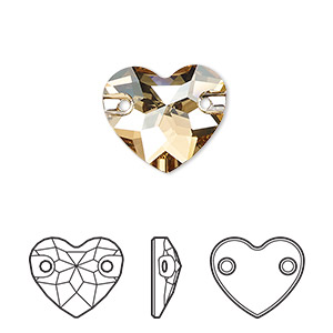 sew-on component, swarovski crystals, crystal golden shadow, foil back, 16mm faceted heart with 2 holes (3259). sold per pkg of 30.