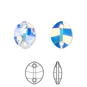 sew-on component, swarovski crystals, crystal passions, crystal ab, 14x11mm faceted pure leaf with 2 holes (3224). sold per pkg of 2.