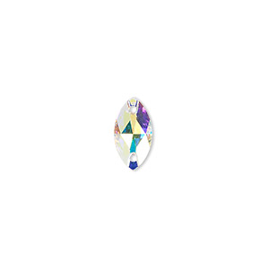 sew-on component, swarovski crystals, crystal passions, crystal ab, foil back, 12x6mm faceted navette flat back with 2 holes (3223). sold per pkg of 12.