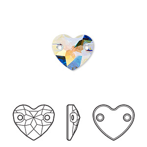sew-on component, swarovski crystals, crystal passions, crystal ab, foil back, 12mm faceted heart with 2 holes (3259). sold per pkg of 2.