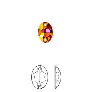 sew-on component, swarovski crystals, crystal passions, crystal astral pink, foil back, 10x7mm faceted oval flat back with 2 holes (3210). sold per pkg of 2.