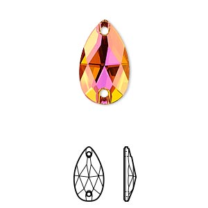 sew-on component, swarovski crystals, crystal passions, crystal astral pink, foil back, 18x10.5mm faceted pear flat back with 2 holes (3230). sold per pkg of 12.