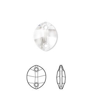 sew-on component, swarovski crystals, crystal passions, crystal clear, 14x11mm faceted pure leaf with 2 holes (3224). sold per pkg of 12.