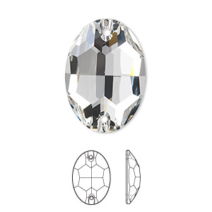 sew-on component, swarovski crystals, crystal passions, crystal clear, foil back, 24x17mm faceted oval flat back with 2 holes (3210). sold per pkg of 2.